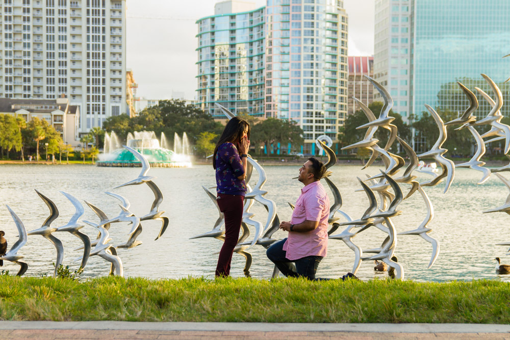 Lake Eola Proposal | Orlando Engagement Proposal Photographer