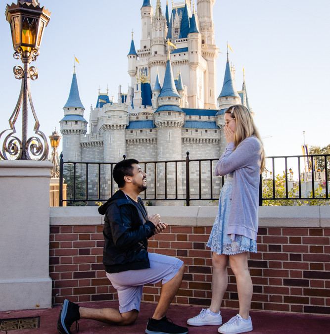 Disney World Proposal Photographer | Cinderella Castle Magic Kingdom Proposal
