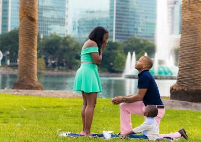Orlando Surprise Marriage Proposal Photographer Lake Eola