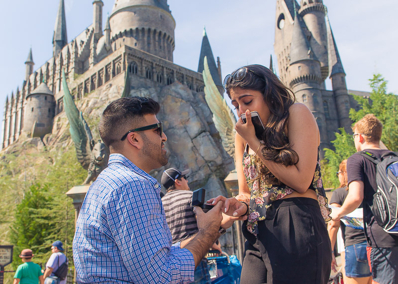 Orlando Surprise Proposal at the Wizarding World of Harry Potter